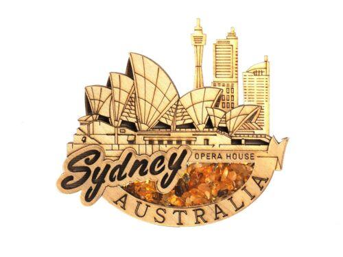 """Souvenir mit Bernstein Kühlschrankmagnet /""""Sydney Australien Opera House/"""""""