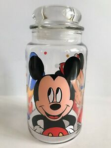 Anchor-Hocking-Disney-Minnie-amp-Mickey-Mouse-Donald-Duck-8-034-H-Glass-Candy-Jar