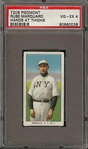 1909-11 T206 HOF Rube Marquard Hands at Thighs Piedmont 350 New York PSA 4 VG-EX