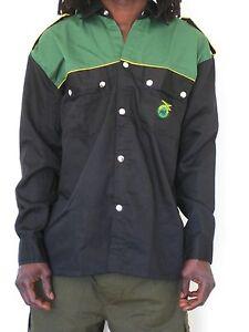 Reggae Shirt rasta Giamaica cotton Button Down Twill Langarm longsleeves Hemd 08wv7z0q