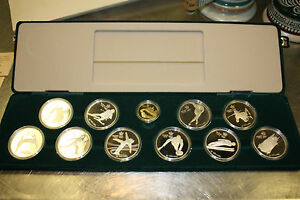 1988-Olympic-Silver-proof-set-Canada-10-pc-set-in-box-100-gold-coin-w-COA