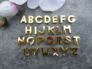 Buchstaben ABC Metall 12 mm Goldfarben Schiebeperlen Beads Halsband Hund Katze