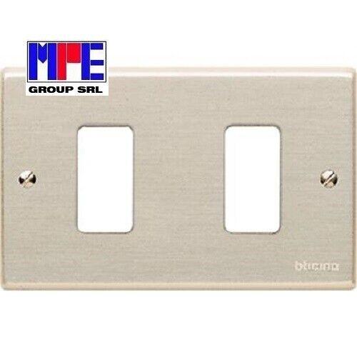 fissaggio con viti su 503 BTICINO 503//2 PLACCA 2 posti in alluminio anodizzato
