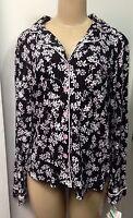 Charter Club Women Sleepwear Black Floral Long Sleeve Pajama Top Sz