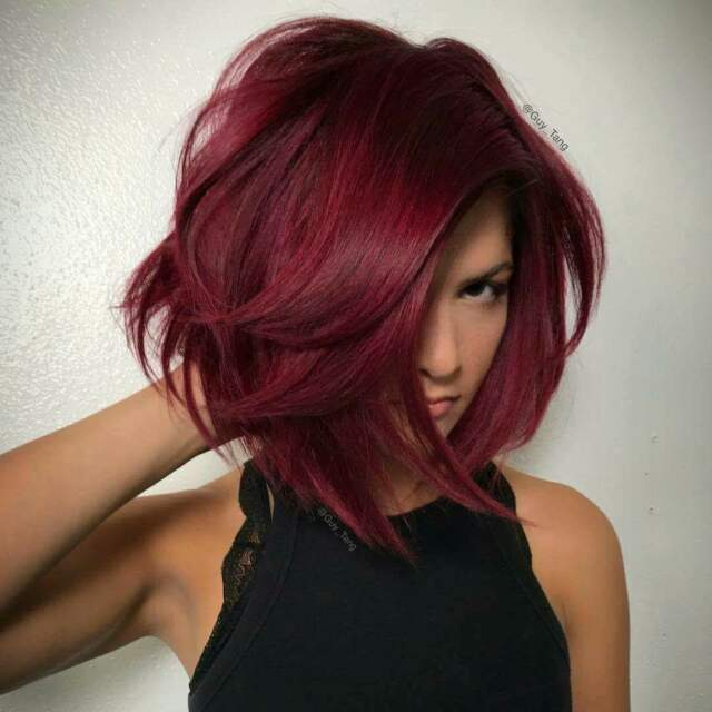 Ombre Red Bob Hair Dark Roots Short Straight Side Part Cosplay