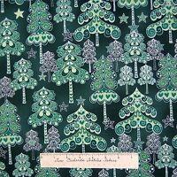 Christmas Fabric - Evergreen Silver & Green Trees Holiday - Hoffman Yard