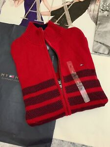 mejor sitio web 11ab5 2dab6 Detalles de Tommy Hilfiger Clásico Colores HOMBRE Cárdigan Rojo Talla XXL