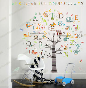 huge alphabet abc tree art decal educational wall stickers kids
