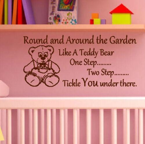 Grand bébé nurserie cite ronde et le jardin comme un autocollant Mural Ours en peluche