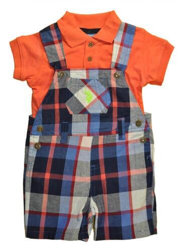 US Polo Assn Infant Boys Coral Bodysuit 2pc Shortall Set Size 3//6M 6//9M $32