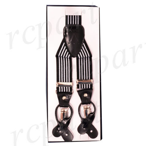 New Y back Men's Vesuvio Napoli Suspenders Braces clip on blak white Stripes