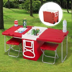 Image Is Loading Picnic Cooler Rolling Camping Table Chairs Folding Stools