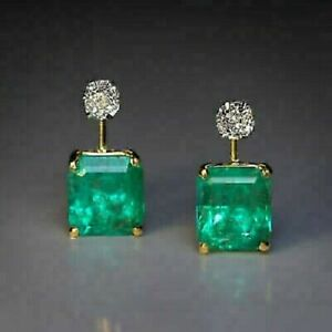 4-10-CT-Emerald-amp-Diamond-14K-Yellow-Gold-FN-Solitaire-Stud-Earrings-925-Silver