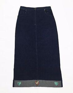 Black-sport-gonna-skirt-maxi-L-jeans-lunga-usata-boyfriend-vintage-T1176