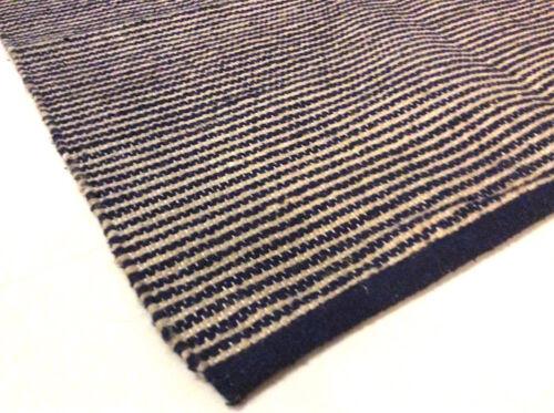 40/% Bleu marine à rayures bleu coton naturel /& toile de jute Fait Main Lavable Kilim Tapis Durrie