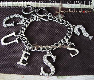 NWT GUESS Multi Tags Bling Font Silver Tone Toggle Clasp Chain Bracelet Bt264
