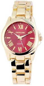 Excellanc-Damenuhr-Rot-Gold-Roemische-Ziffern-Analog-Metall-Quarz-X180305000033
