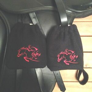 - Black /& Red 1 pair English Stirrup Iron Covers Stirrup Bags Stirrup Covers