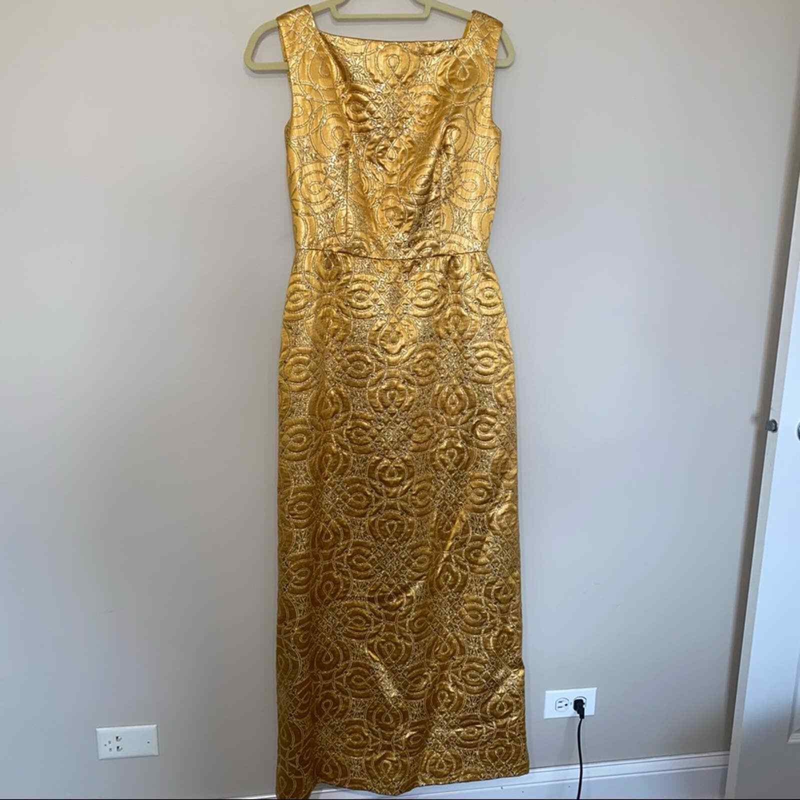 80s Vintage Scaasi Boutique Bombshell Gold Maxi D… - image 4