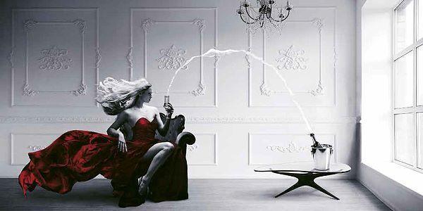 Julian Lauren  Champagne Zoom Keilrahmen-Bild Leinwand Frau Sekt Fashion Mode