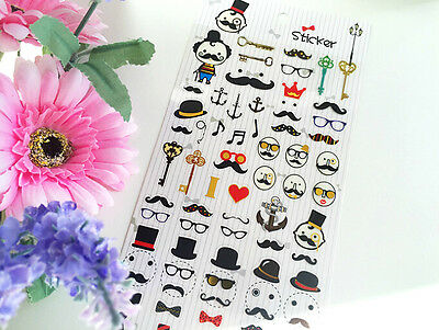 Fun Mustache Key Glasses Sticker Scrapbook card DIY Diary Sweet Kids Gift Bag