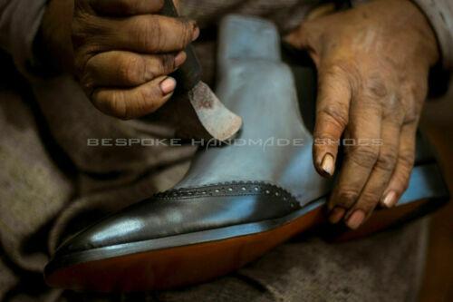 Fait Main Homme Authentique En Cuir Grise Oxford Richelieu à Lacets Chaussures US482