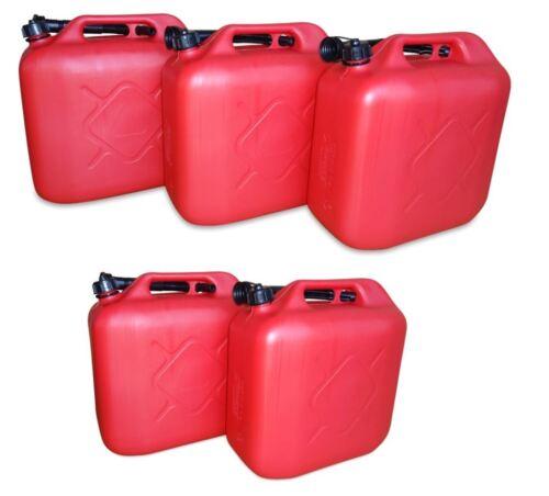 5 x 20 L Kraftstoffkanister Benzin Diesel Kanister Reservetank UN-Nummer rot