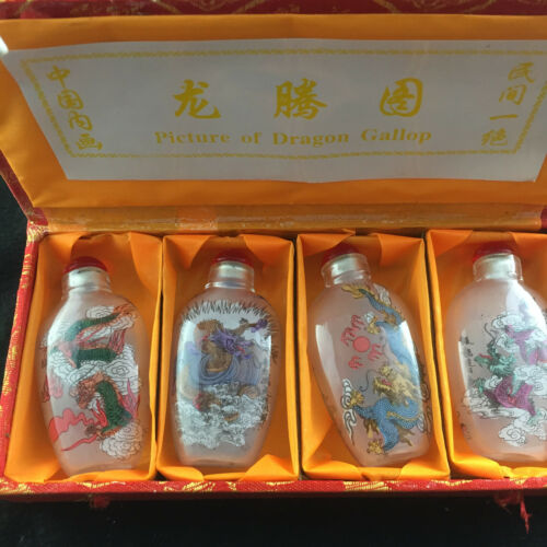 4PCS RARE CHINESE INSIDE HAND PAINTING GLASS Dragon SNUFF BOTTLE