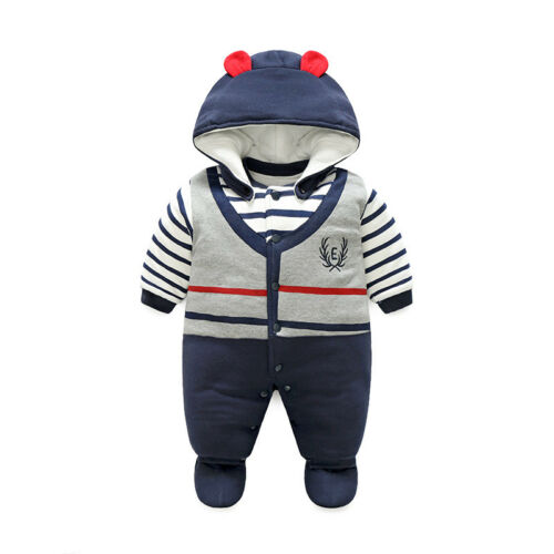 Newborn baby boys winter thick warm cotton padded bodysuit/& hat /& shoes 3pcs set