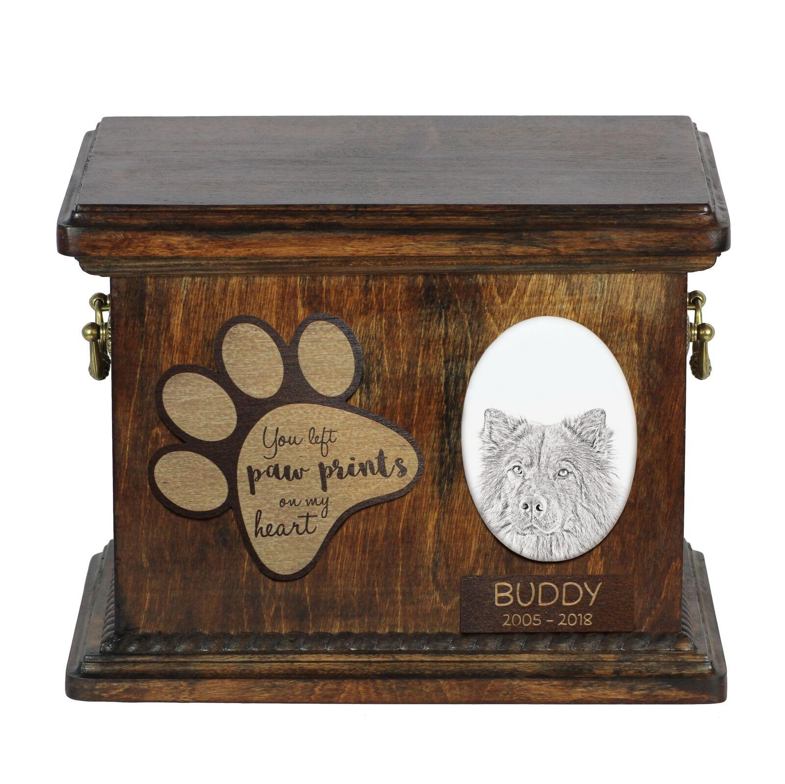 Eurasier - Urn for dog's ashes with ceramic plate and description, Art Dog