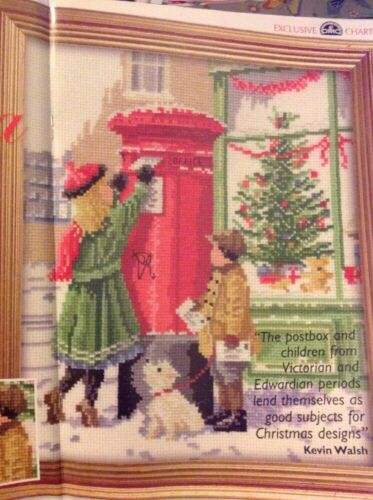 X2 Kevin Walsh Victorienne Enfants Postbox christmas cross stitch chart