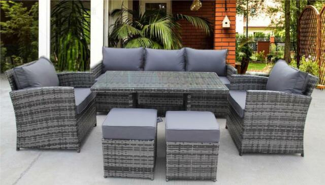 Rattan Wicker San Jose Black Outdoor Dining Furniture Set Setting Table Chairs For Sale Ebay