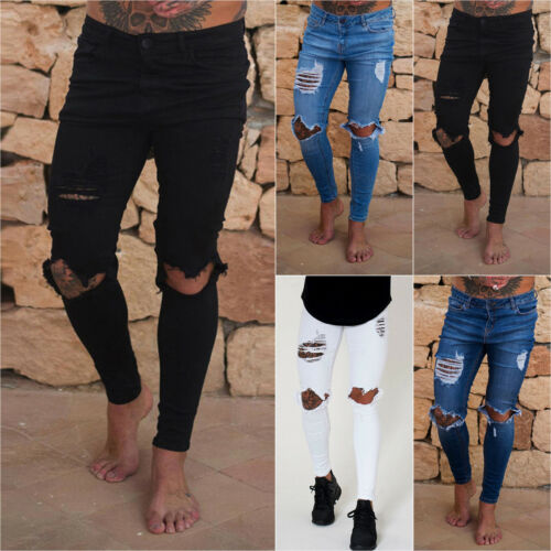 Fashion Men/'s Ripped Skinny Jeans Broken Hole Frayed Taped Slim Fit Denim Pants