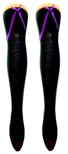 Ladies Girls Over The Knee Black Cotton Socks With Coloured Satin Bow Size 4-6