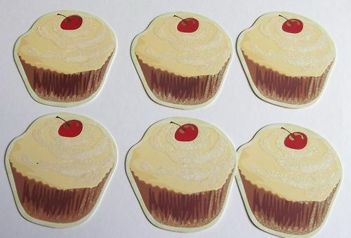 PK 6 LOVELY CUPCAKES YUM YUM EMBELLISHMENTS FOR CARDS