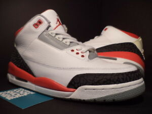 buy online 41de8 8c0f3 2007 Nike Air Jordan III 3 Retro WHITE FIRE RED CEMENT GREY BLACK ...