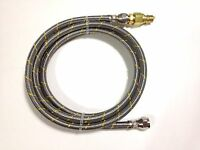 6' Natural Gas Lp Stainless Steel Hose With Male Quick Connect Disconnect