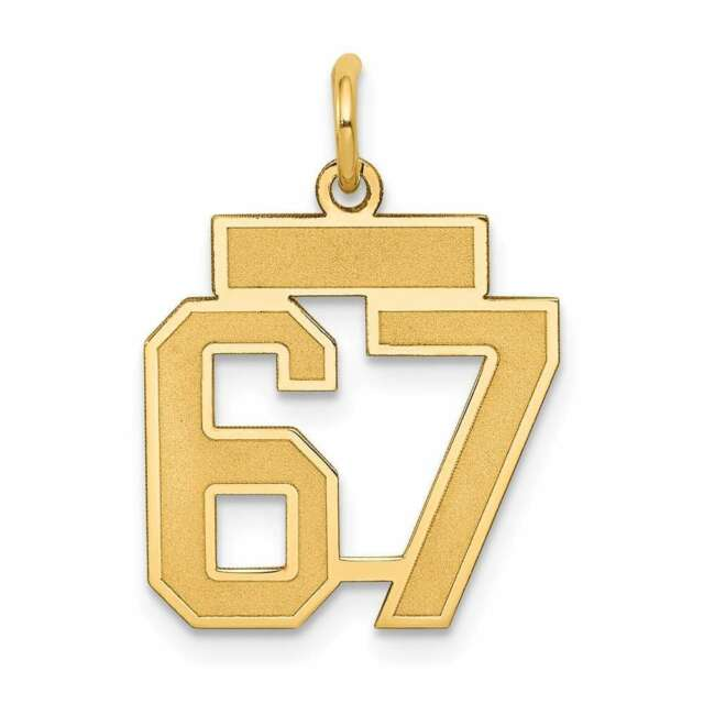 14k Yellow Gold Small Satin Number 67 Charm