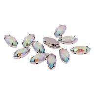 Craftbuddyus 50pc Marquis 7x15mm Ab Clear Sew On Resin Montee Diamante Gems Diy