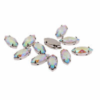Craftbuddyus 50pc Marquis 7x15mm Ab Clear Sew On Resin Montee Diamante Gems Diy