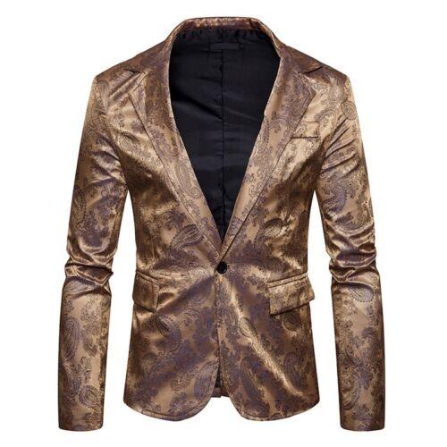 Fashion Men/'s Floral Pattern Blazer Outwear Slim Fit One Button Suit Coat Jacket