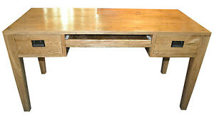 New-Solid-Oak-Timber-2-Drawer-Desk-with-keyboard-slide-top-quality