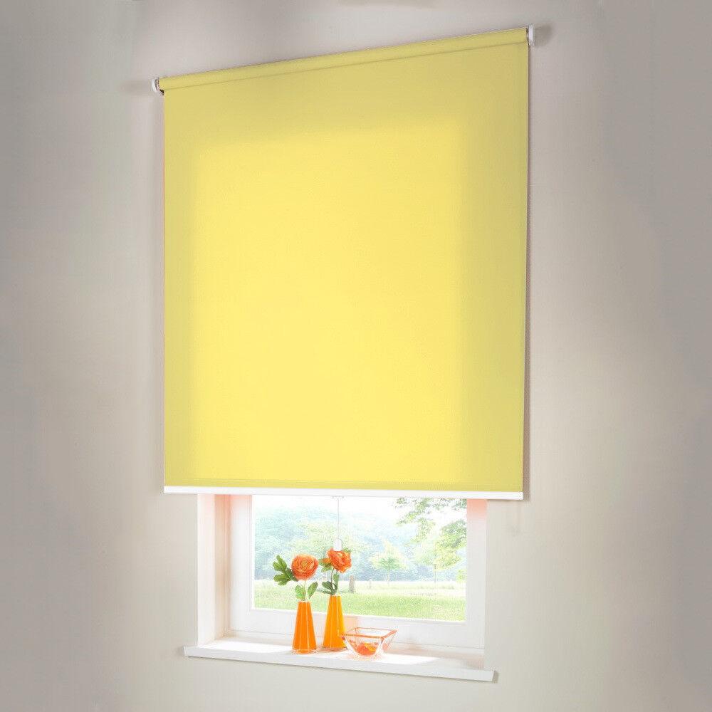 Sichtschutzrollo Mittelzugrollo Springrollo Rollo - Höhe 160 cm gelb   Verkauf Online-Shop