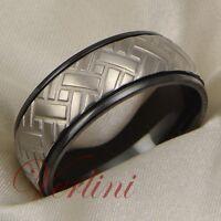 Mens Titanium Ring Unique Wedding Band Black Car Tire Bridal Jewelry Size 6-13