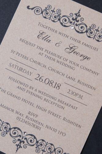 50 Handmade Wedding Invitations Day Evening Invites inc Envelopes Vintage Rustic