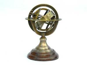 Antique Armillary Brass Desktop Globe Sphere Wooden Base Vintage Astrolabe GIFT