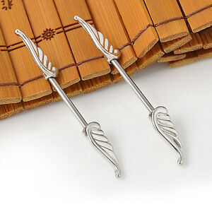 2PCS-Angel-Wings-Feather-Body-Nipple-Bar-Barbell-Piercing-Ring-14G-Jewelry