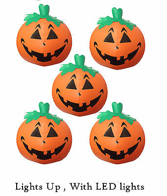 Pumpkin Halloween 5 PACK Inflatable Light Up (LED)