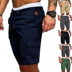 Mens-Cargo-Shorts-Pants-Casual-Summer-Beach-Sport-Gym-Trousers-Plain-Elastic