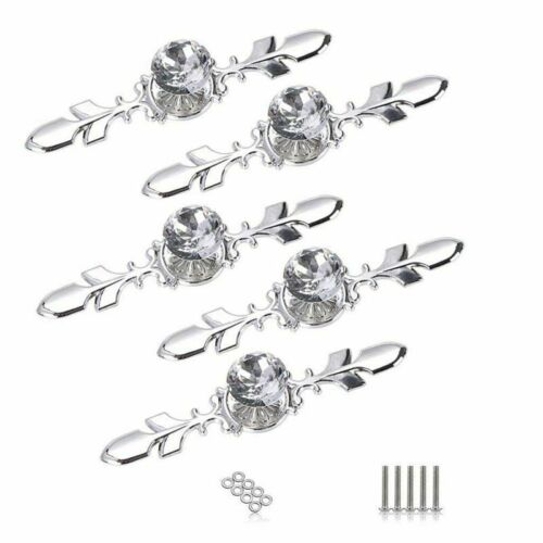5 Pack Crystal Drawer Knobs with Silver Plate-Diamond Shape Cabinet Drawer D6O5